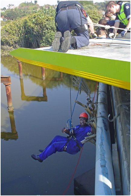 SAPS mountain rescue team assists after truck plunges off bridge