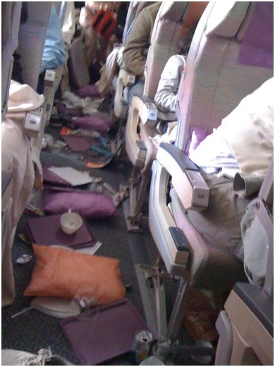 Photos from inside Emirates plane after Durban Emergency landing