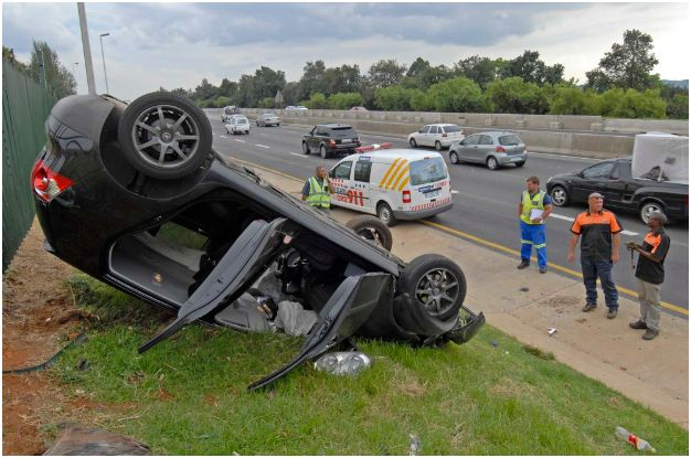 Young Female driver injured in roll-over accident in Kempton Park