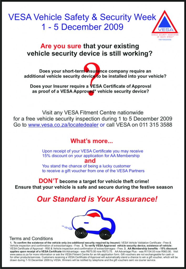 VESA Vehicle Safety and Security Week 1-5 December 2009