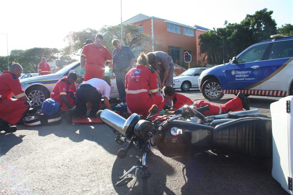 Motorcyclist Crashes Into Car