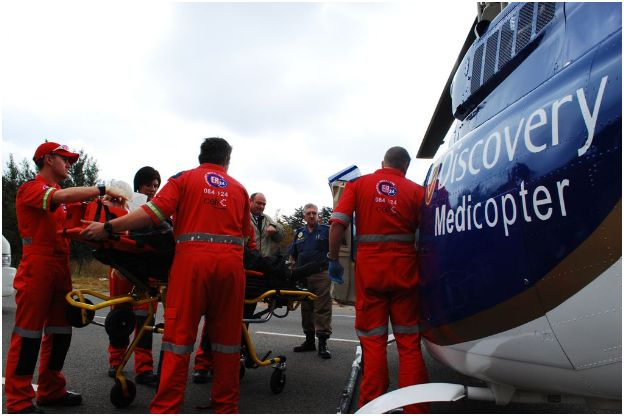 Motorbiker Airlifted after Crash in Bergbron