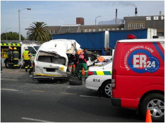 Truck Crashes into Taxi in Epping
