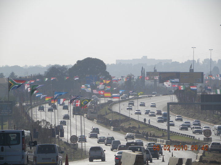 Photos of flags adding to World Cup vibe on JHB roads