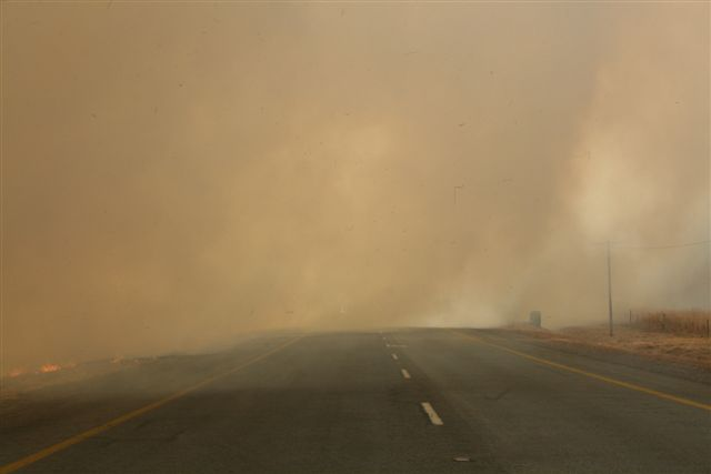 Pay close attention when driving near veld and forest fires!!