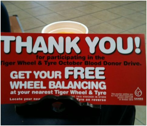 Donate blood and receive free wheel balancing!!