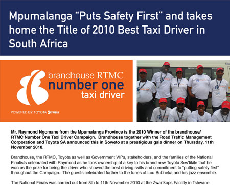 Mpumalanga driver wins Title of 2010 Best Taxi Driver in South Africa
