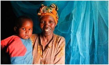 A recipient mother of a Malaria net