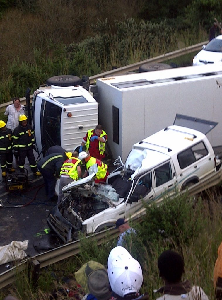 Man and Child Die in Accident as construction truck overturns