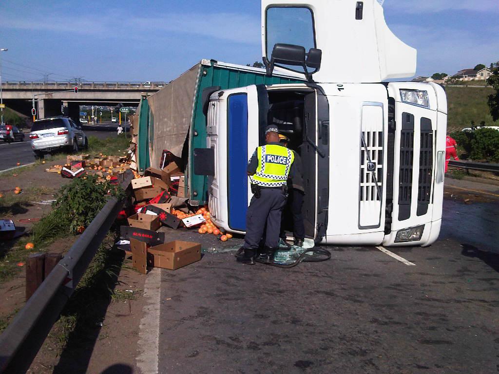 Truck Overturns in Umgeni