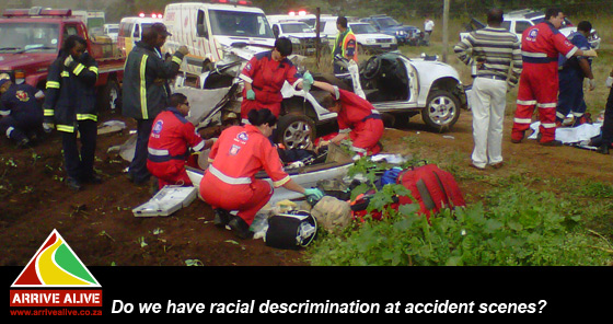 There is no place for racial discrimination at the accident scene!!