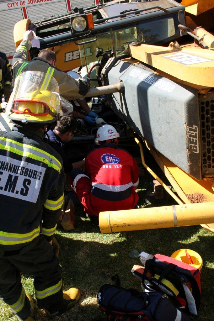 Man Trapped in overturned Bulldozer at Sandown