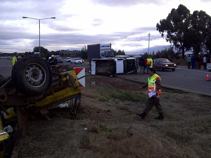 Three bakkies and a truck collide near Randfontein