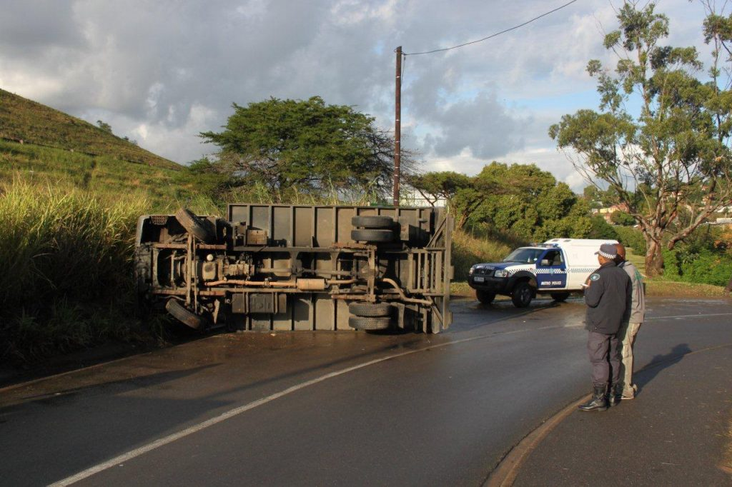 Delivery Vehicle Overturns In Chesterville