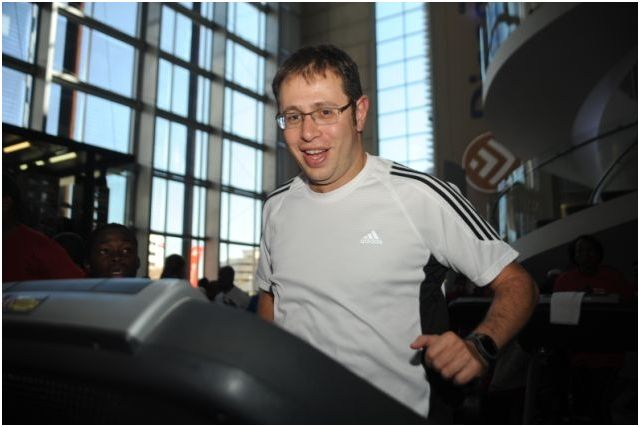 Discovery employees put best foot forward in treadmill marathon