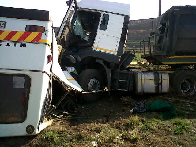 Coal Truck Crashes over Bus near Ogies Killing 10