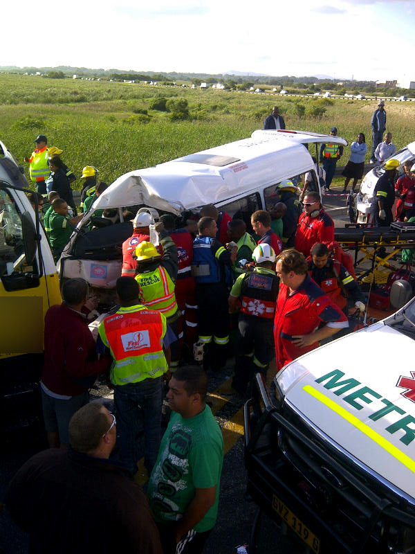Taxi collides into truck on Baden Powell Drive