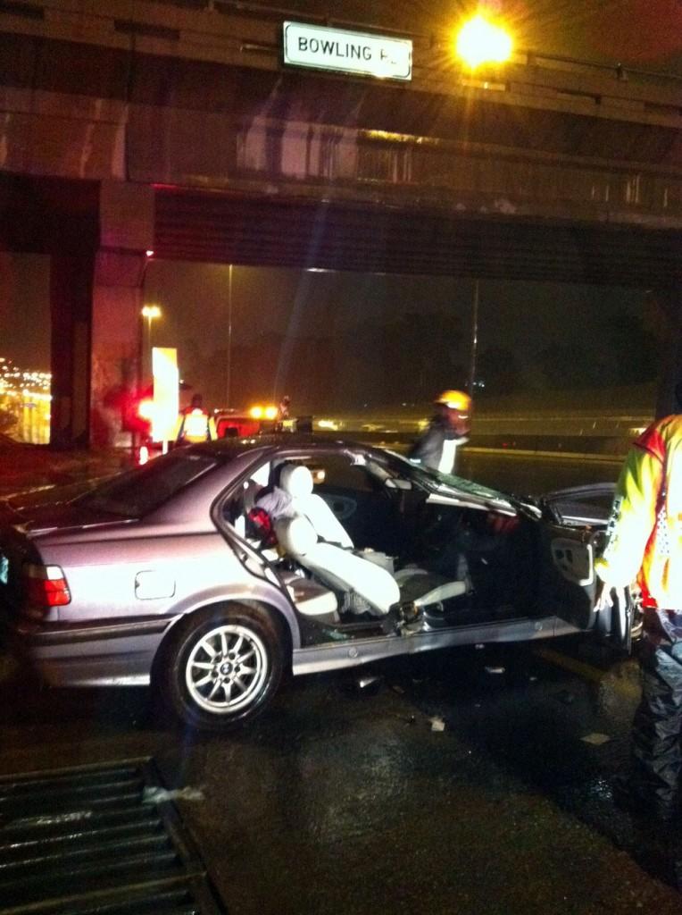 Driver injured as Car aquaplanes on N1