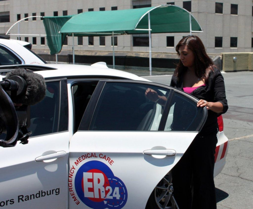 eNews Channel television journalist Serusha Govender feels the heat inside a car