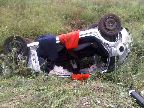 Driver fortunate to suffer only minor injuries when car overturns