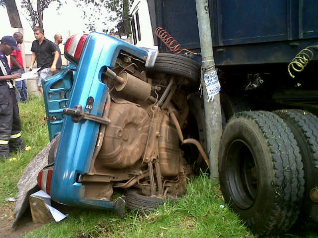 Lucky escape after truck crashes over car