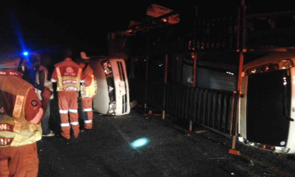 Nine vehicles in collision, One Driver