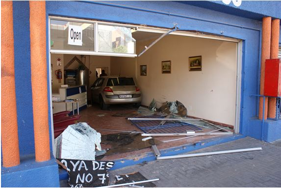 Car smashes into shop front on Bram Fischer Drive