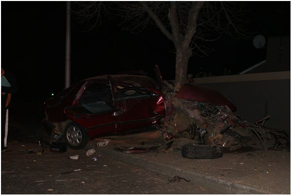 Driver sustains serious injuries after his vehicle collides with a tree on Barbara Road