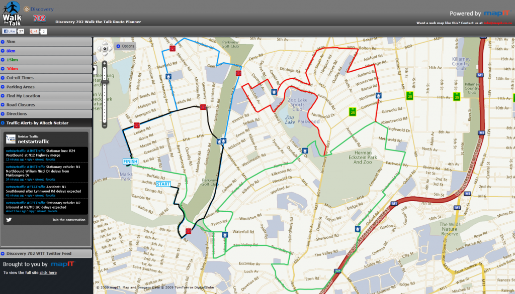 Discovery 702 Walk-the-Talk Route Planner provided by MapIT