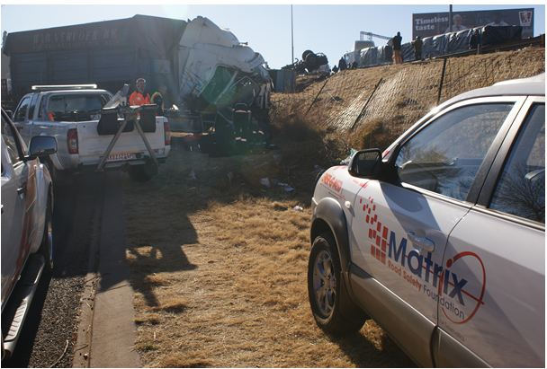 Coal trucks collide and roll down embankment in Edenvale today