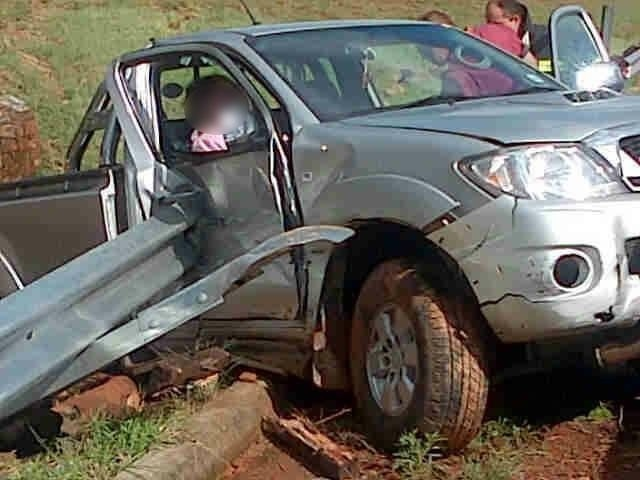 Bakkie gets stuck in roadside barrier, preventing it from rolling down a hill