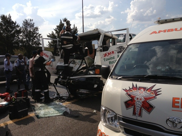 Driver entrapped after two trucks collide at N3/N12 split