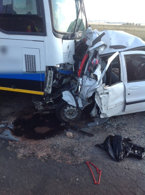 Passenger bus collides into car at De Hoek Toll Plaza