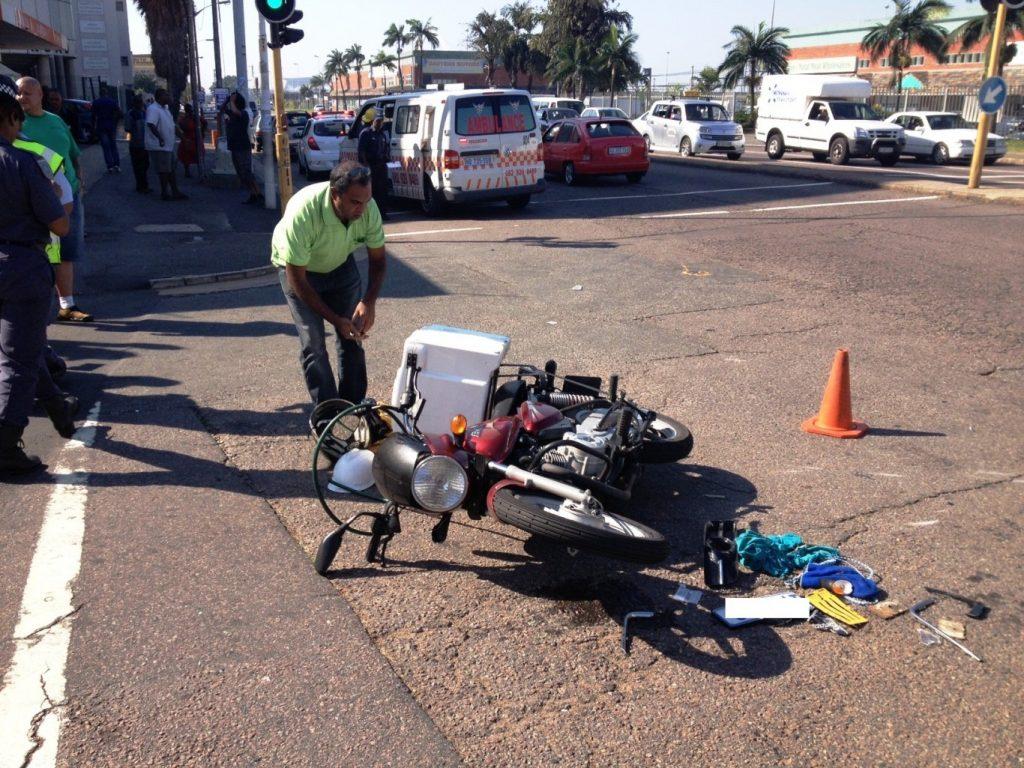 Biker seriously injured in crash on the corner of Umgeni Road and Kent Road