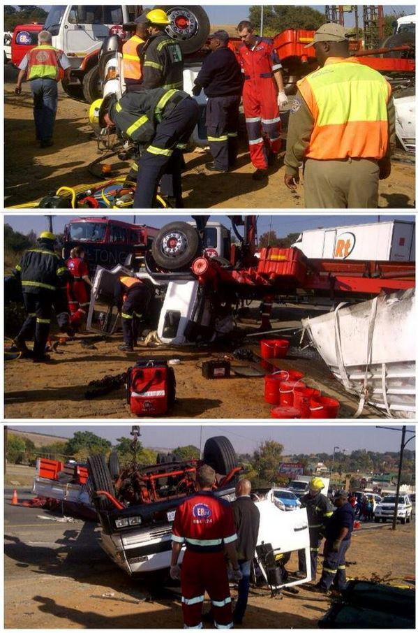 Truck driver runs away after truck overturns on the R24