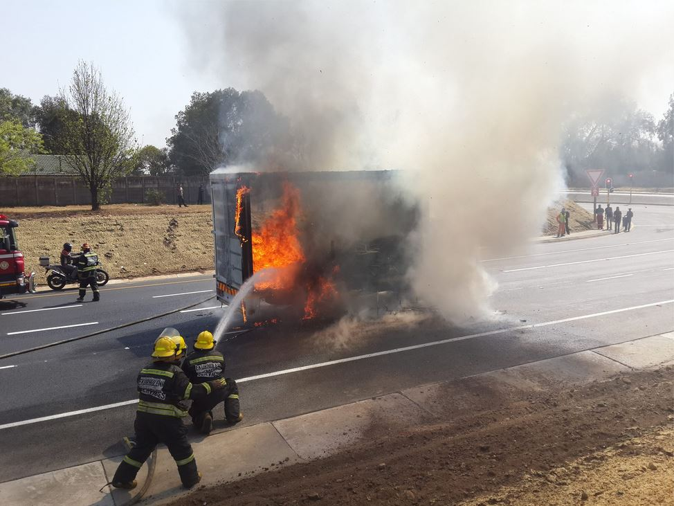 Truck engulfed in flames at Snake road, Benoni
