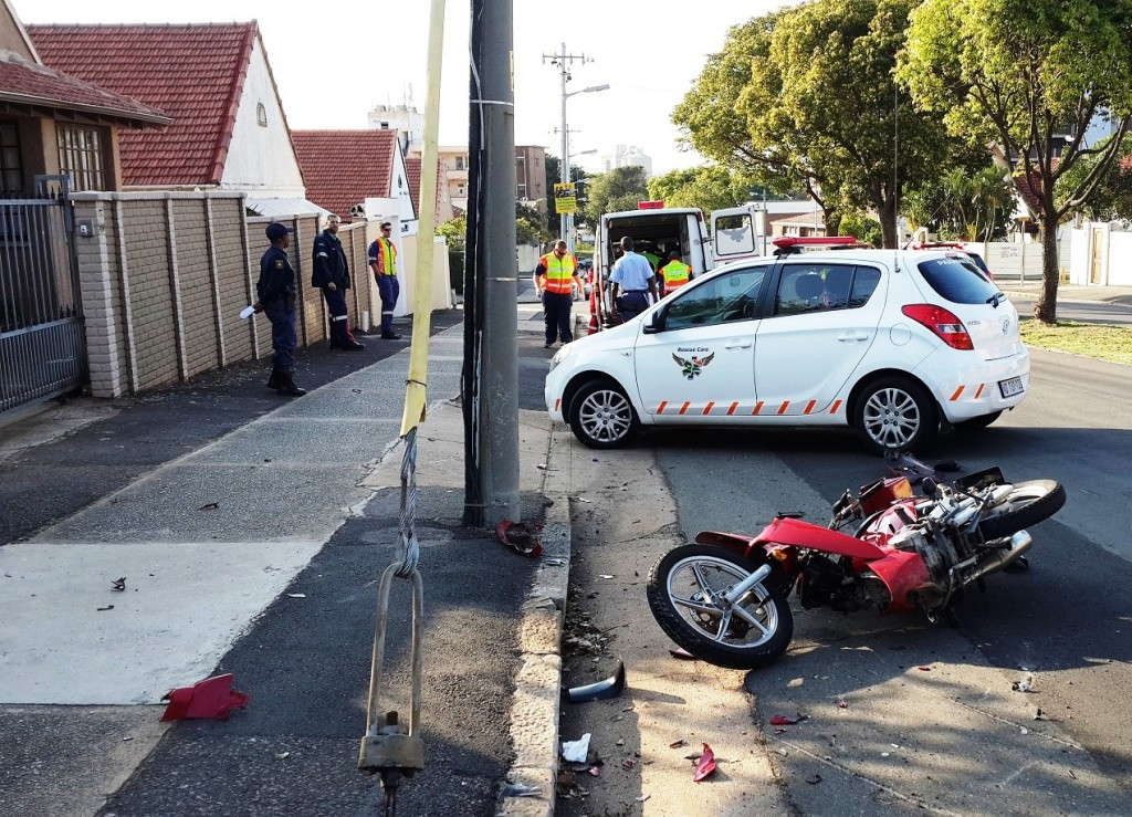 Biker injured in crash on the corner of Frere Road and Willowvale Road in Umbilo