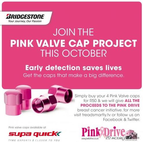 Buy a set of pink valve caps to show support of fight against Breast Cancer