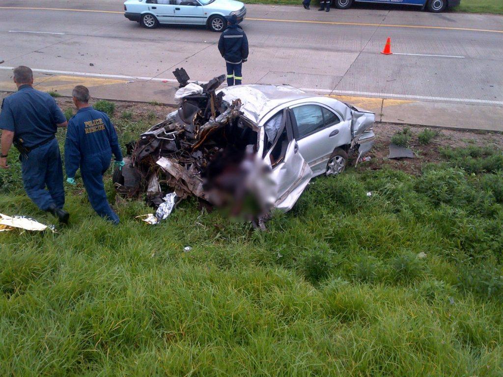 A massive impact collision killed three occupants on the Cedara Road bridge