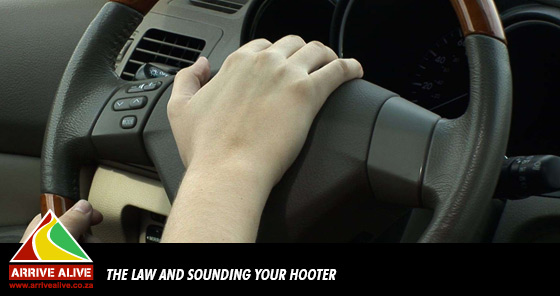 What does the law say about sounding the hooter when not necessary?