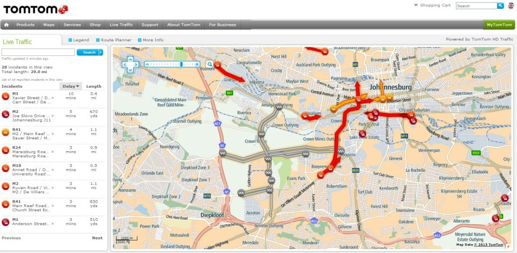 Route Planner Around Johannesburg Today