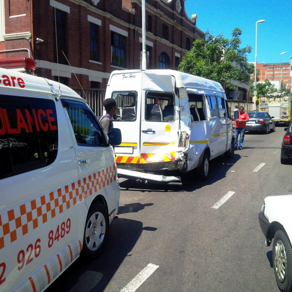 Truck crashes into taxi on the corner of Alice Street and Russel Street in Durban