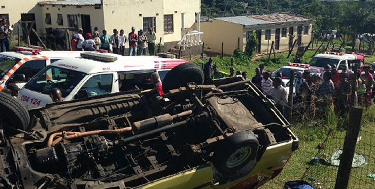 Taxi overturns, man left critical on Ngoje Crest in Marionhill