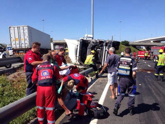 Two people injured in truck collision on N1 highway past the Koeberg interchange