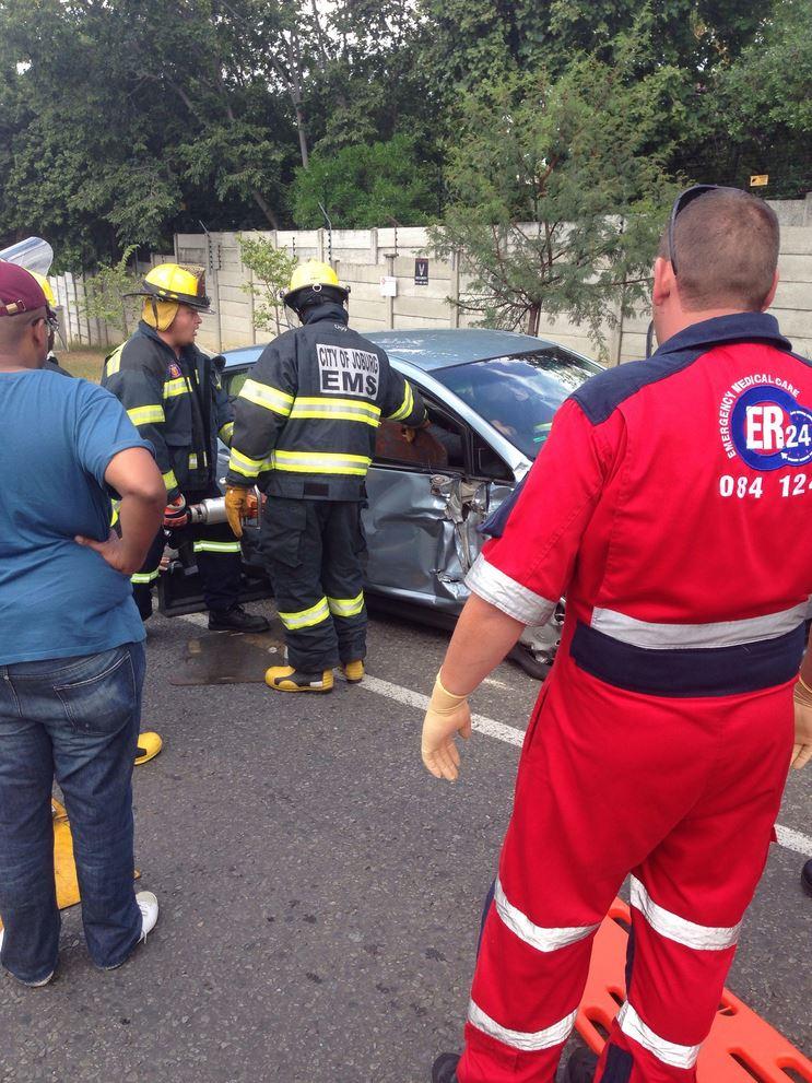 Lady injured in Fourways collision