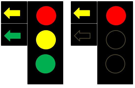 What are the Rules of the Road for driving at traffic light intersection with steady amber/yellow arrow?