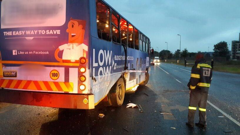 Eight people escaped serious injury when two buses collided on the R554 near Lenasia