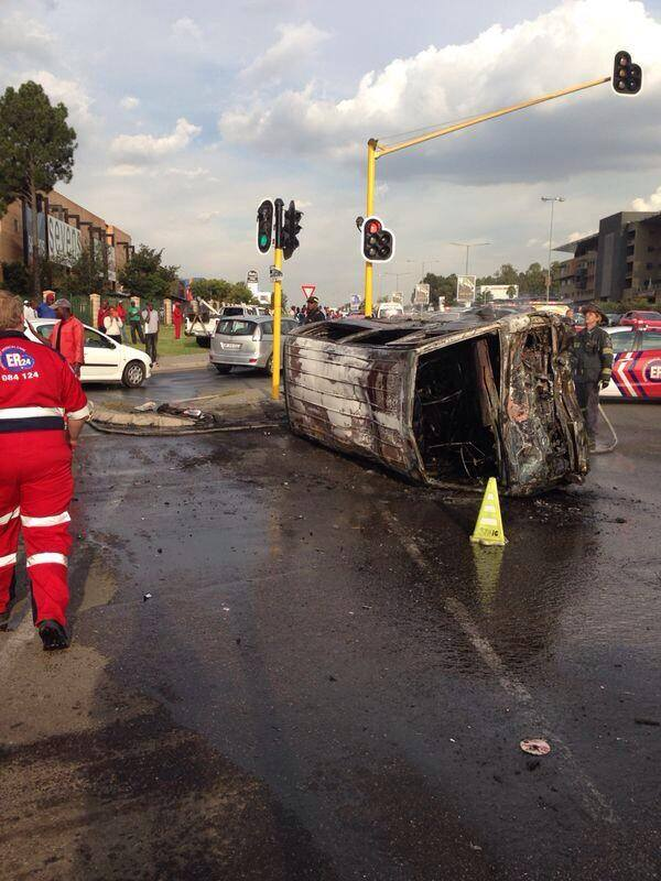 Fifteen adults sustained minor to serious injuries when a taxi caught alight on Witkoppen Road