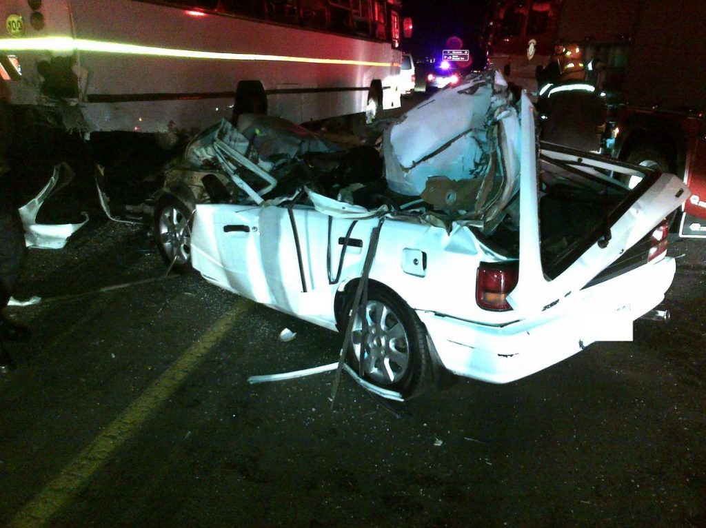 Man critical after collision with stationary bus near Newcastle in KwaZulu Natal