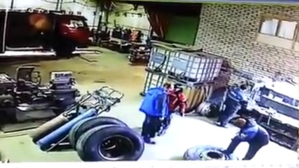 Video reveals the power of a truck tyre burst